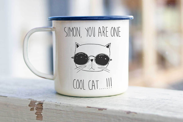 Cool Cat Enamel Mug