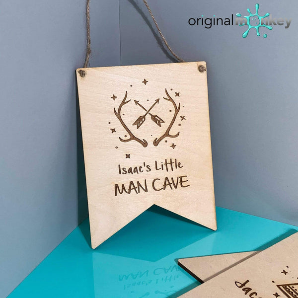 Antler Man Cave Door Plaque