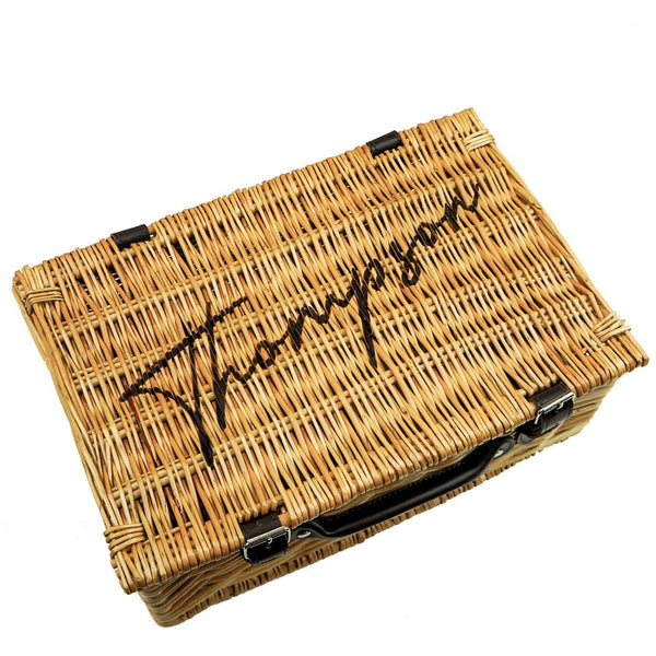 Wicker picnic basket with personalisation engraved on the top by Original Monkey Gifts.