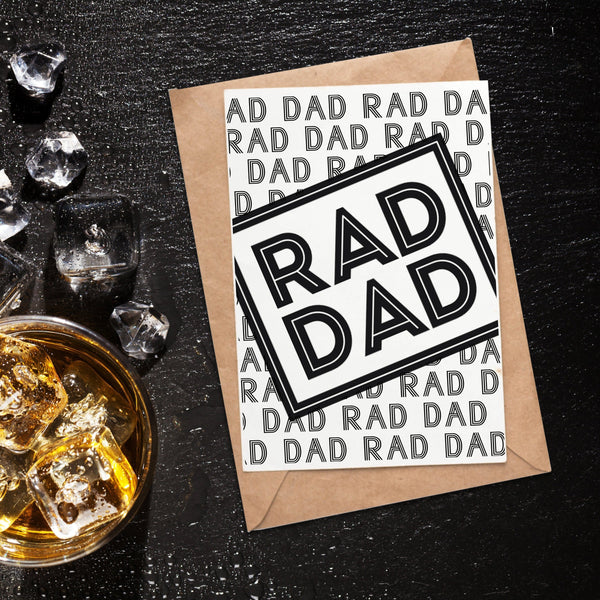 Card with text that reads 'Rad Dad' by Original Monkey Gifts.