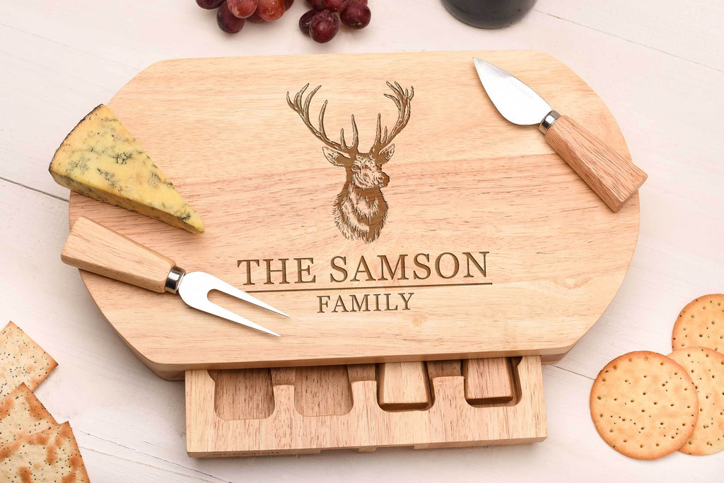 Stag Family Cheese Board, Knife set.