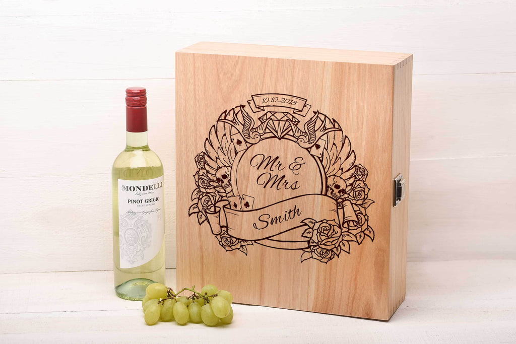 Tattoo Design Triple Wine Box