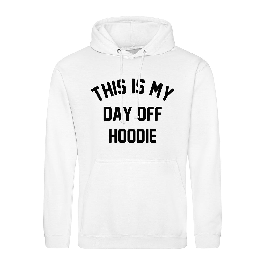 woman wearing yellow hoodie with This is my Day off Hoodie in white text made by Original Monkey