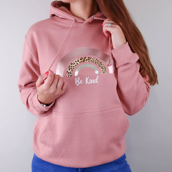 woman wearing dusty pink hoodie in blue jeans from Original Monkey Gifts
