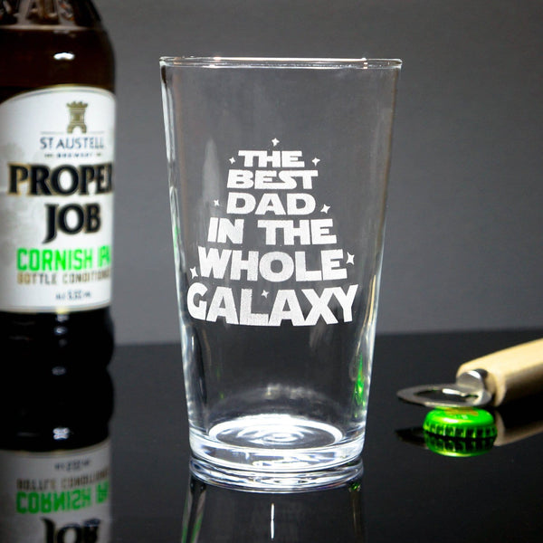 Best Dad In The Galaxy Glass