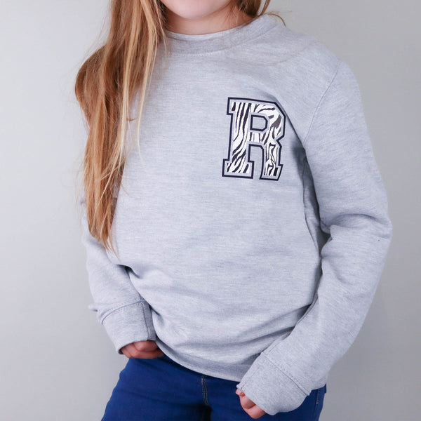 Personalised Kids Initial Zebra Sweater