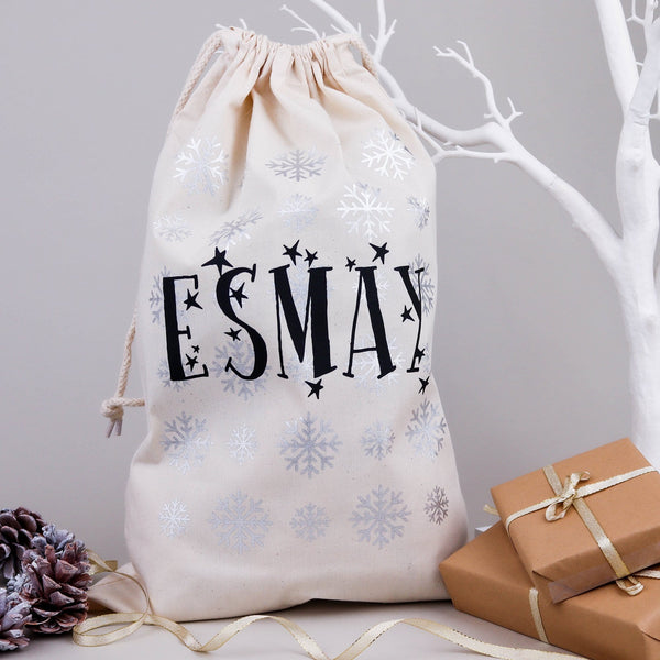 Christmas Eve Silver Snowflake Bag