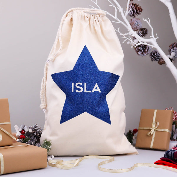 Christmas Eve Glitter Star Bag