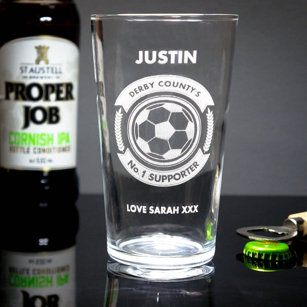 Personalised Football Pint Glass