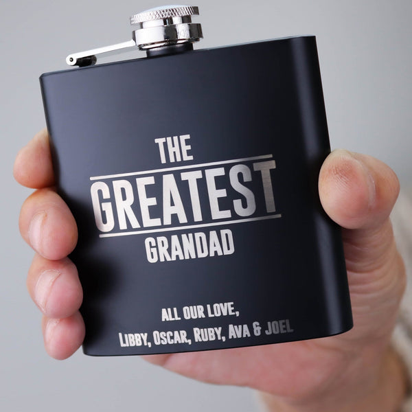 Grandad holding a hip flask saying the greatest grandad