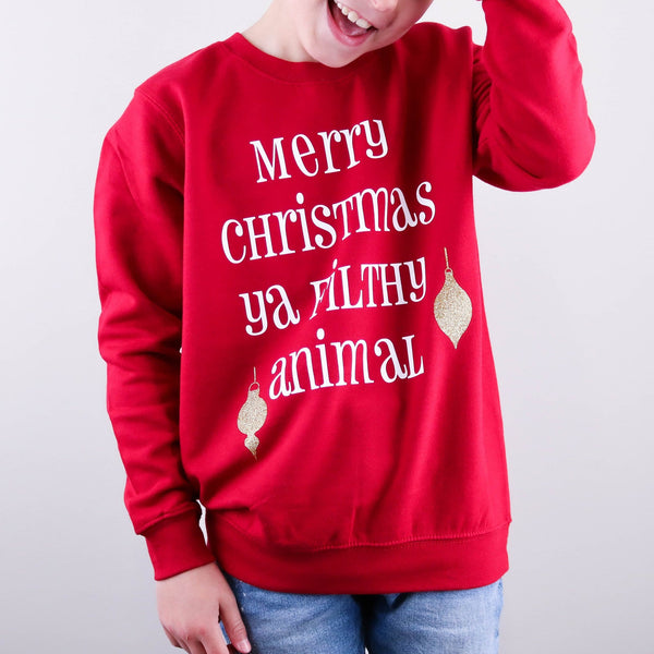 Kids Ya Filthy Animal Christmas Jumper