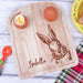Wooden breakfast egg board with engraved personalisation and bunny by Original Monkey Gifts.