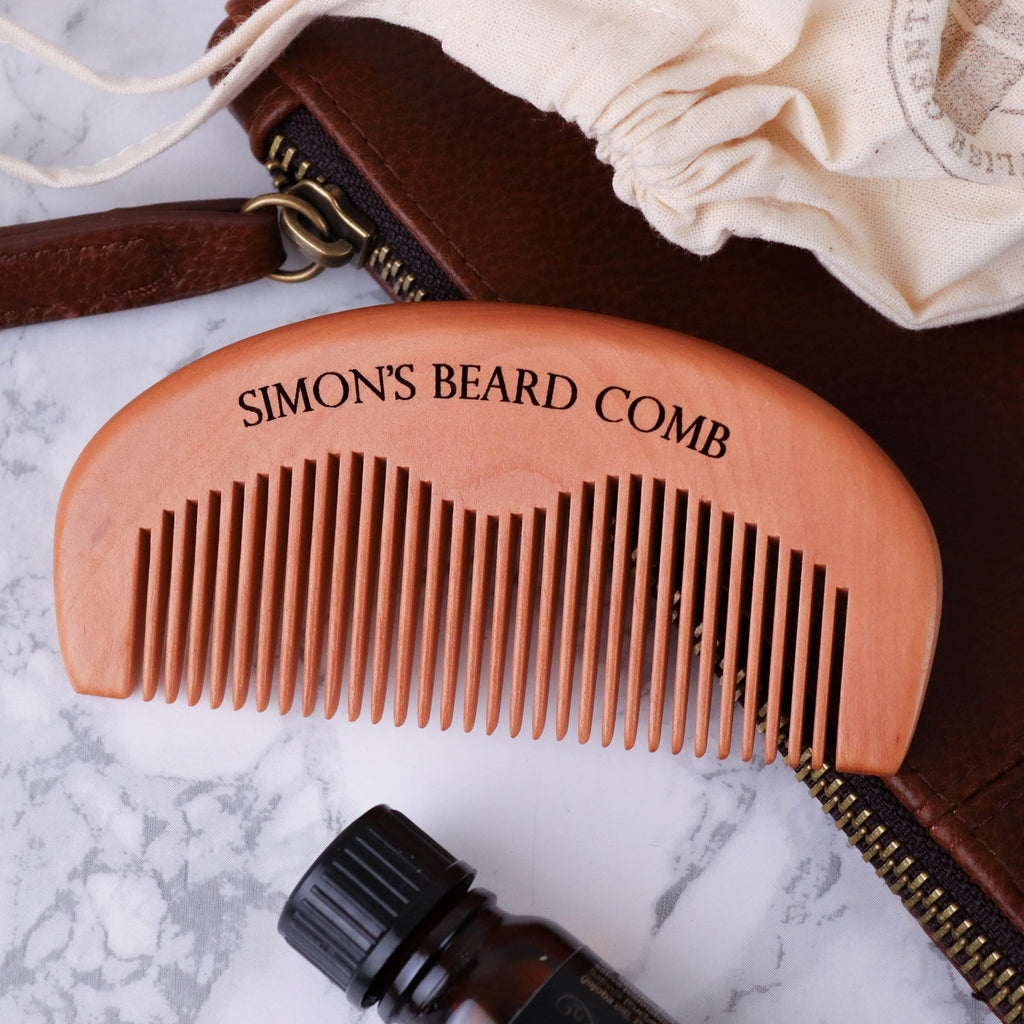 Wooden beard comb with engraved personalised message by Original Monkey Gifts.