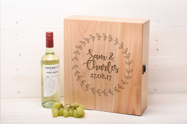 Modern Wreath Triple Wine Box