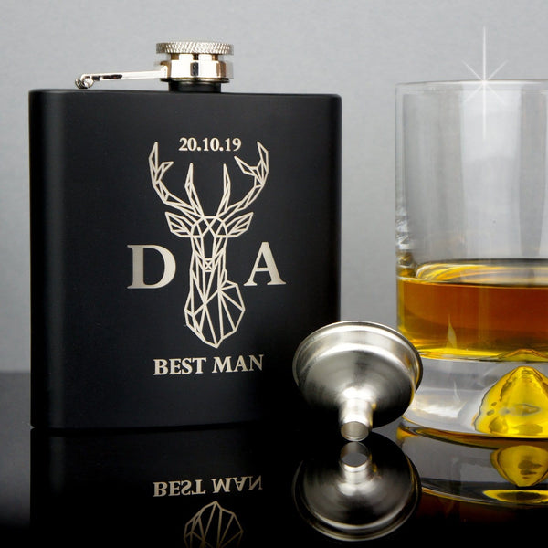 GROOMSMAN HIP FLASK OMG6-HIPBLK
