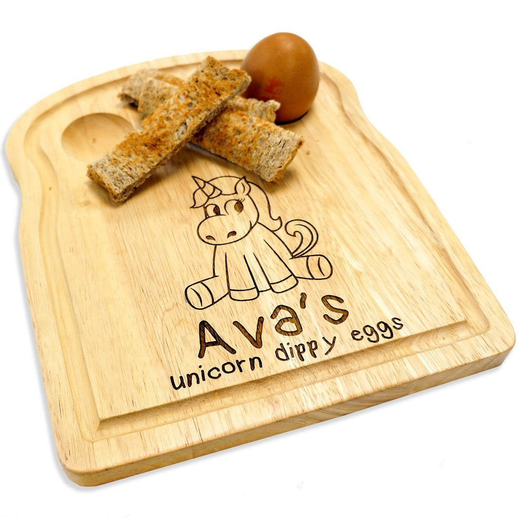 Wooden egg breakfast board with personalisation and unicorn engraving by Original Monkey Gifts.