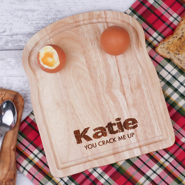 Wooden egg breakfast board with personalisation by Original Monkey Gifts.