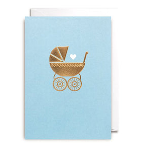 Gold Pram Baby Boy Card