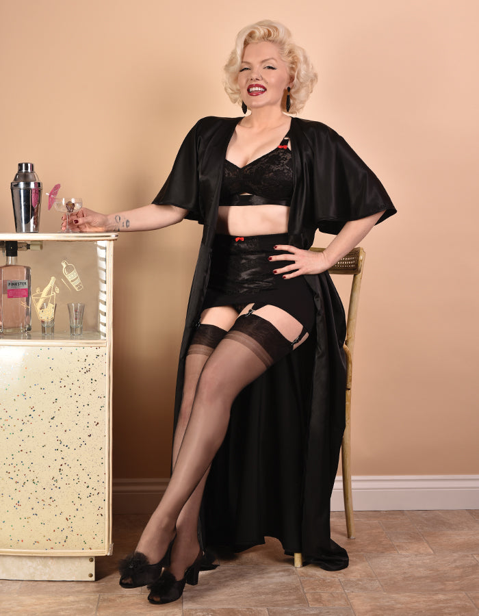 Old Hollywood Glamour: Marilyn Monroe Style Lingerie | Black Loungewear 1930s Robe Dressing