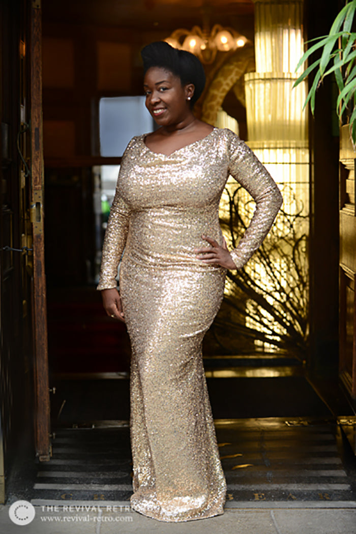 Five Minutes With | Revival Retro Boutique Gold Sequin Maxi Ball Gown Dress
