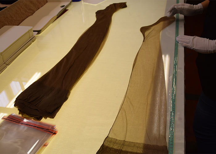 Fully Fashioned Stockings | Finished Copper Cuban Stockings Awaiting Inspection