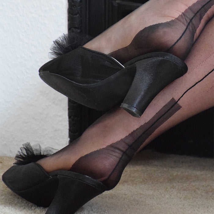 Fully Fashioned Stockings | Cuban Heel Foot Close Up Vintage Mules