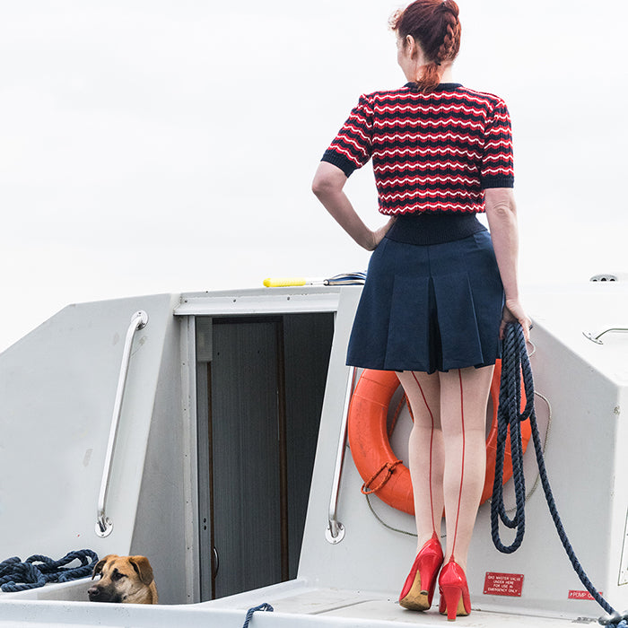 Nautical Style | Vintage Retro Hosiery Seamed Tights