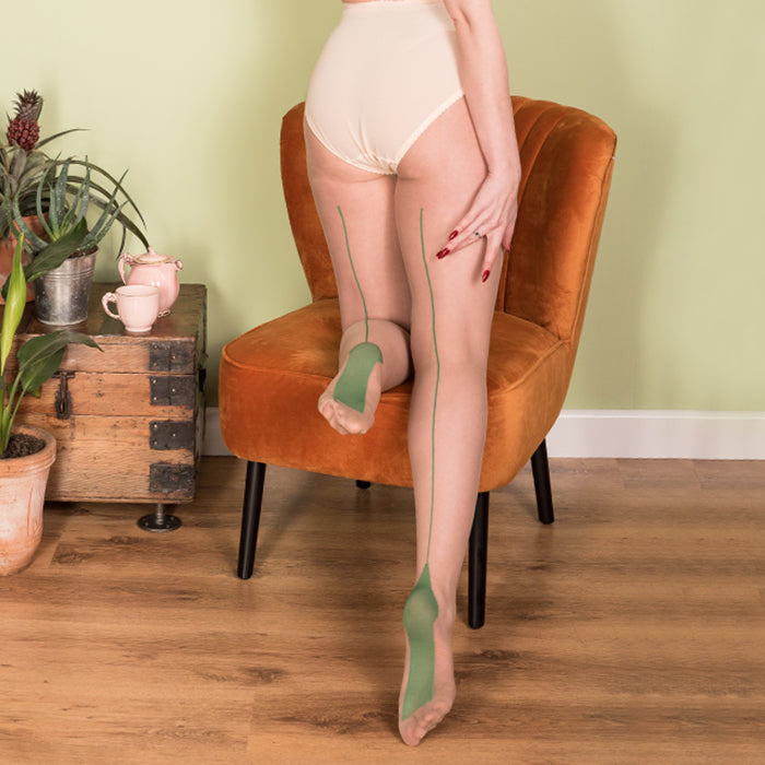 Vintage Stockings | Green Seamed Nude Tights Pantyhose