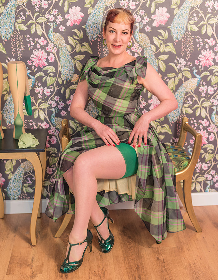 Vintage Stockings | Green Seamed Nude Stockings