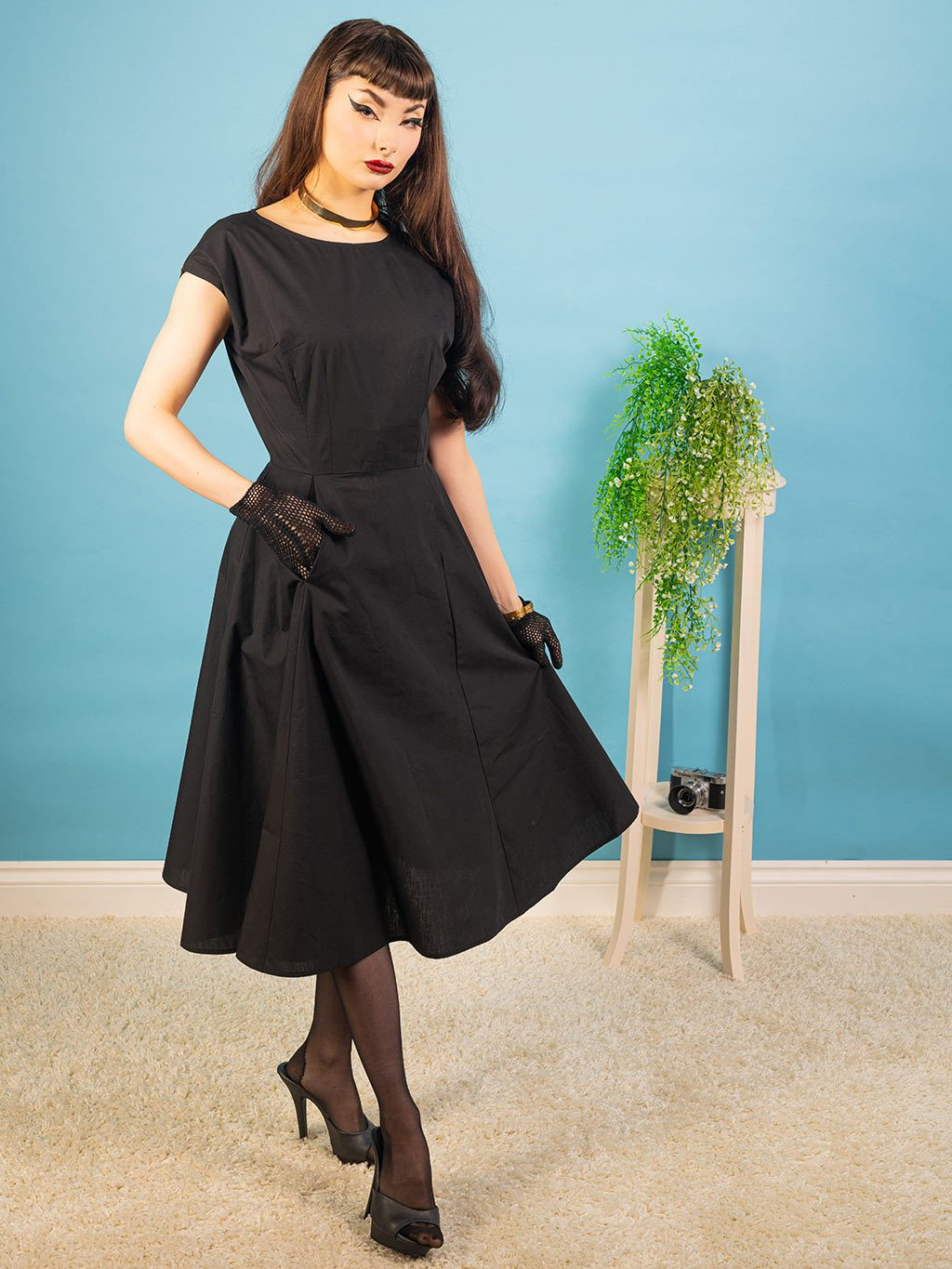 A classic little black vintage inspired dress by What Katie Did.