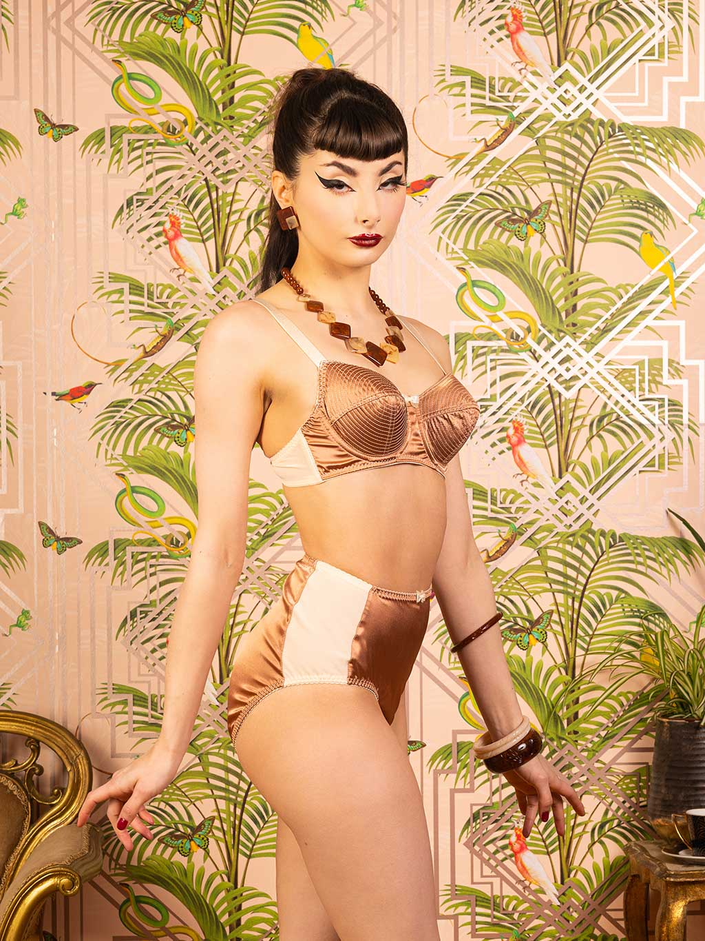 Latte Satine high waisted knickers by What Katie Did.  Vintage style high waisted knickers made from peach power mesh and latte satin.