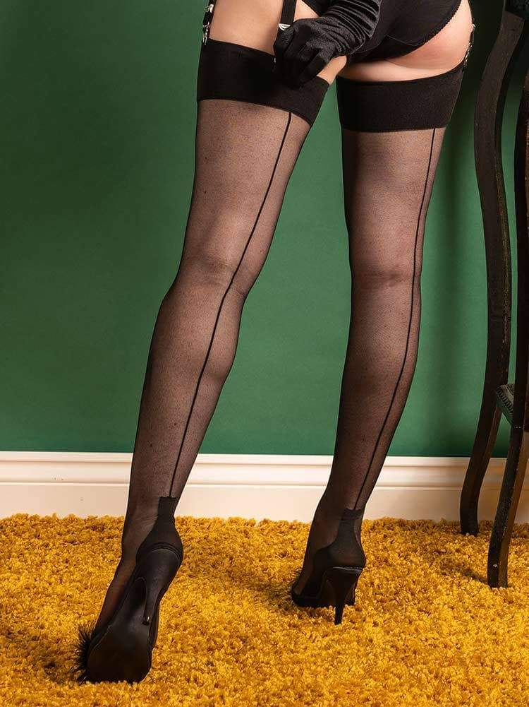 Glamour Cuban Heel Stockings Black H2083