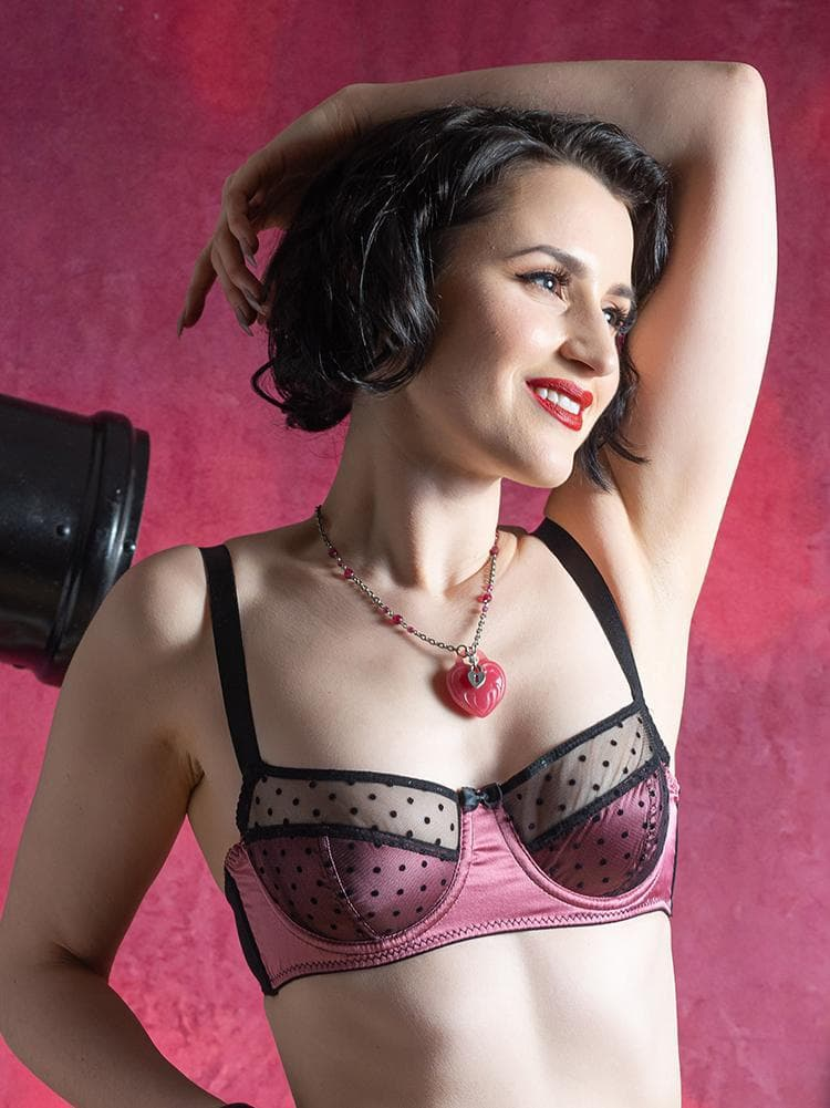 Dusky Rose Dot Bra