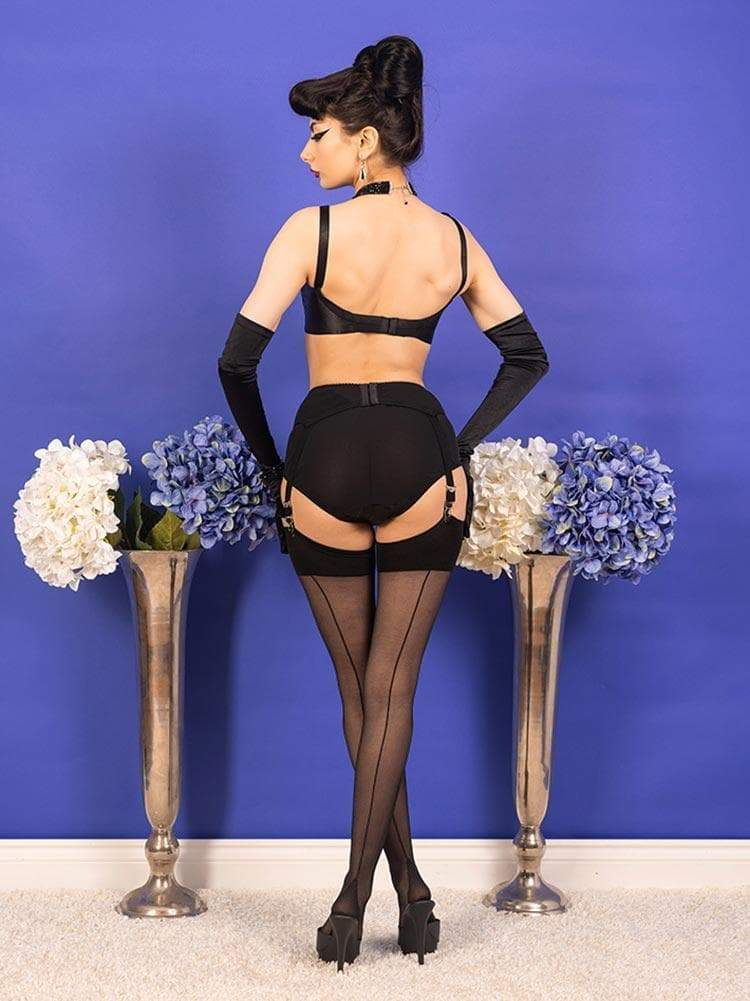 Seamed Stockings Black Glamour H2044