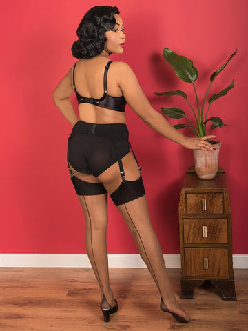 Contrast Seamed Stockings | Nutmeg with Black Seam Nylons