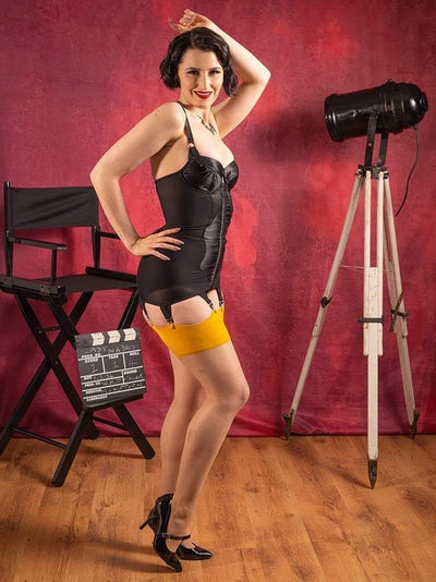 yellow seamed stockings