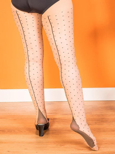 Retro Champagne Tights| Latte Seam Tights | 15 Denier Champagne Tights | Vintage Polka Dot Tights