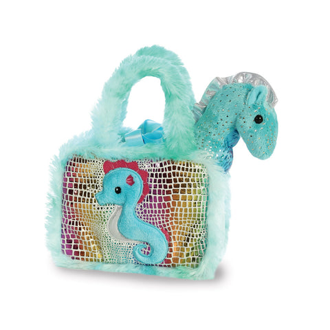 Sea horse soft toy in a bag