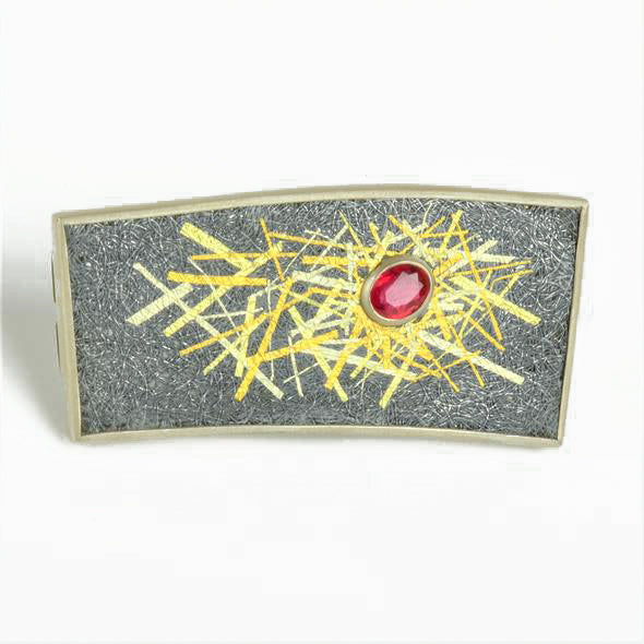 Galloway Whitehead, Gill – Silver Brooch with Ruby and Gold Detail | Gill Galloway Whitehead | Primavera Gallery