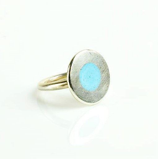 Beckett, Catherine – Silver and Powder Blue Enamel Ring | Catherine Beckett | Primavera Gallery