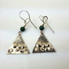 Silver and Green Turquoise Textured Earrings | Jackie Lucas | Primavera Gallery