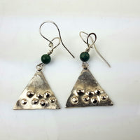 Lucas, Jackie – Silver and Green Turquoise Textured Earrings | Jackie Lucas | Primavera Gallery