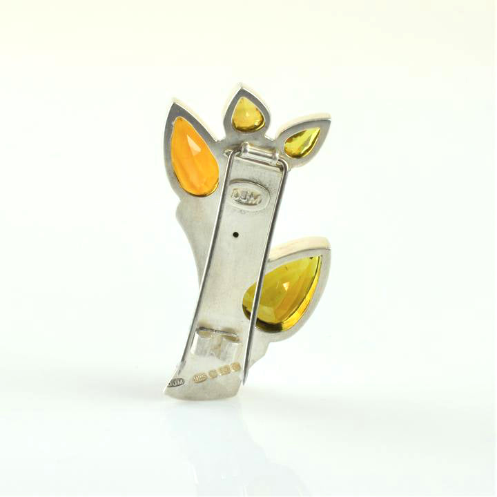Moxon, Debbie – Silver and Citrine Brooch with Sphene and Tourmaline