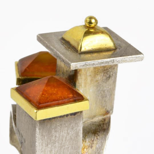 Ambery-Smith, Vicki – Silver and Gold Amber Rooftop Ring | Vicki Ambery-Smith | Primavera Gallery