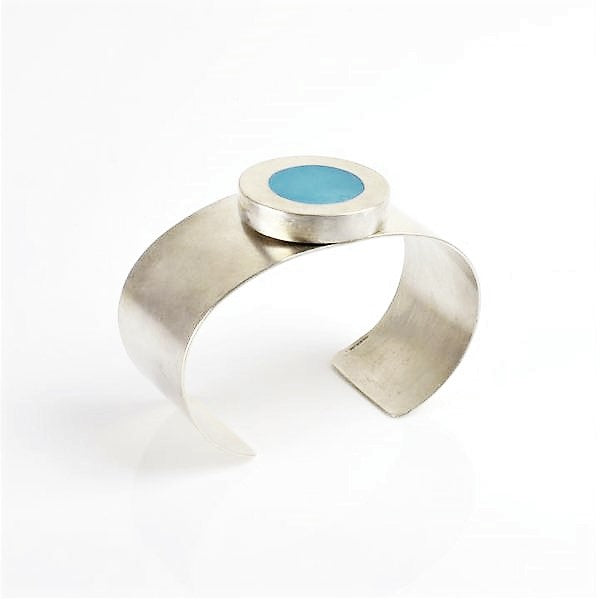 Beckett, Catherine – Silver and Powder Blue Enamel Bangle | Catherine Beckett | Primavera Gallery