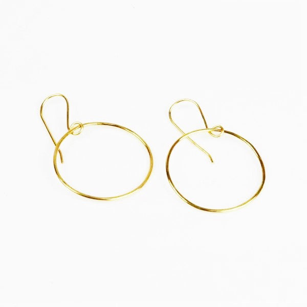 Bruun, Birgitte – Gold Hook Circular Earrings | Birgitte Bruun | Primavera Gallery