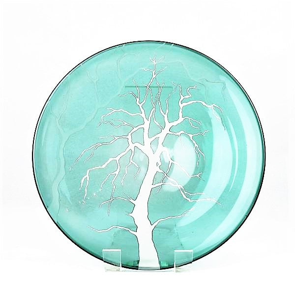 Hough, Catherine – Green Glass Plate with Engraved Tree Design | Catherine Hough | Primavera Gallery