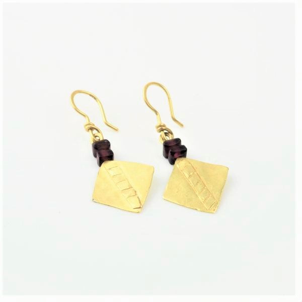18ct Gold Earrings with Garnets | CHRISTINE POVEY | Primavera Gallery