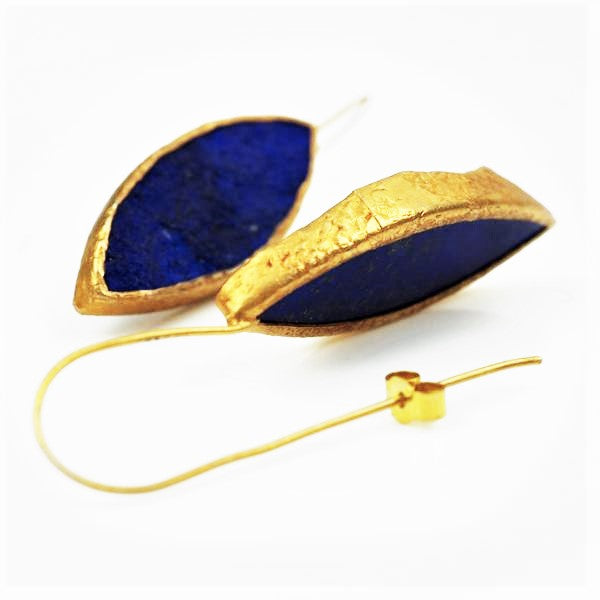 Gold and Lapis Lazuli Drop Earrings | Rebecca Smith | Primavera Gallery