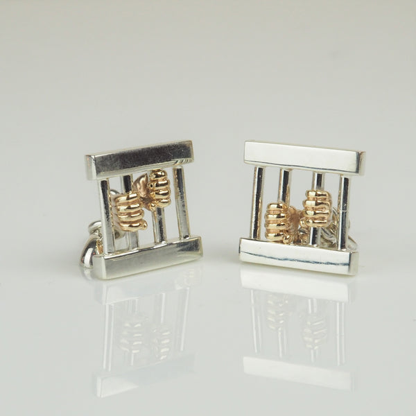 Heber, Jeremy – Silver and Gold 'Jailbird' Cufflinks | Jeremy Heber | Primavera Gallery
